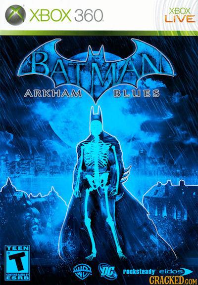 XBOX 360. XBOX LIVE BATMN ARKHAM BLUES TEEN T DC rocksteady eidos. SRE CRACKEDGOM