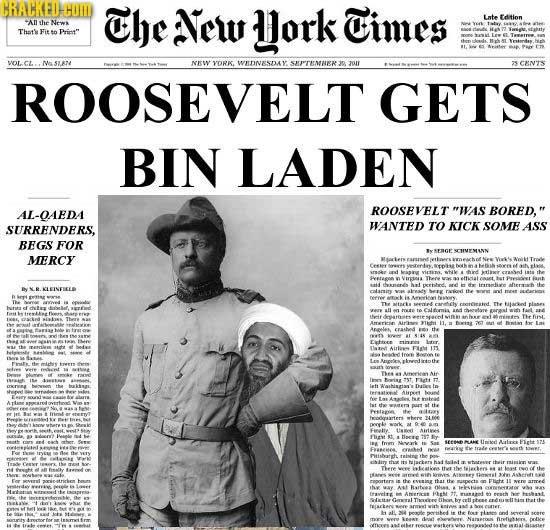 BRACKEDCOMD The New ork Times ate Edtien An he Noer Thars n Prist VOLCL Me sa NKW YORK. WDNESDAY SHPTEMNER zull ROOSEVELT GETS BIN LADEN AL-OAEDA ROO