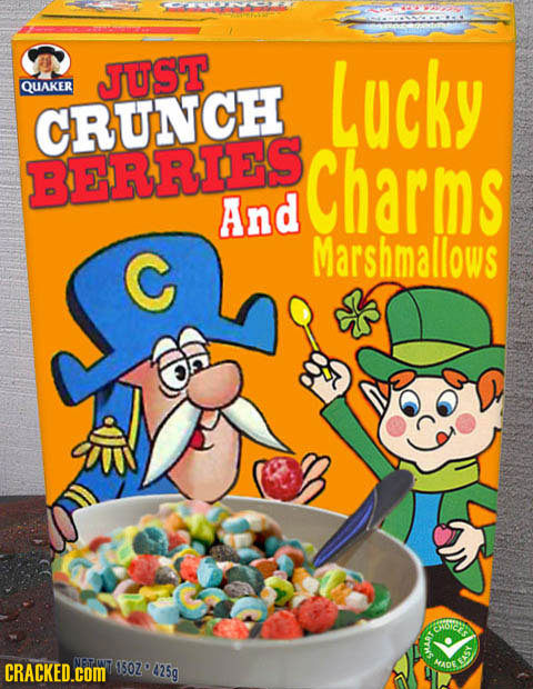 JUST QUAKER Lucky CRUNCH BERRIES Charms And C Marshmallows oic CRACKED.cOM 10Z 425g HADE S3 9MART