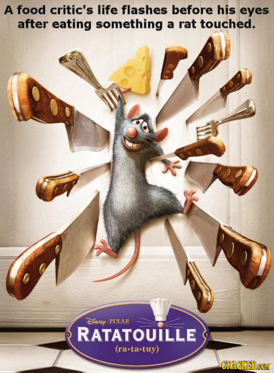 A food critic's life flashes before his eyes after eating something a rat touched. DisneY PIXAR RATATOUILLE (rata.tuy)
