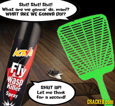 Shit! Shit! Shit! What are we gonna' do. man!? WHAT ARE WE GONNA Do!? AAI Fly & wasp THoHillmtullll Killer SHUT UP! Spray Let me think for a second! C