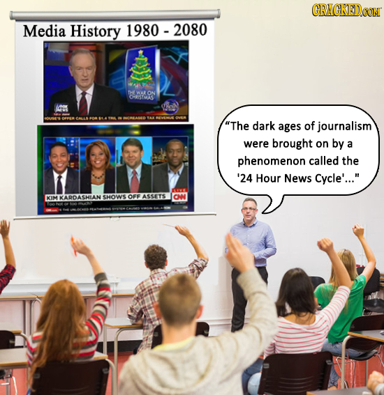 Media History 1980-2080 THE WAR ON CHRISSMAS 109 M0MAO 1 The dark ages of journalism were brought on by a phenomenon called the '24 Hour News Cycle'.