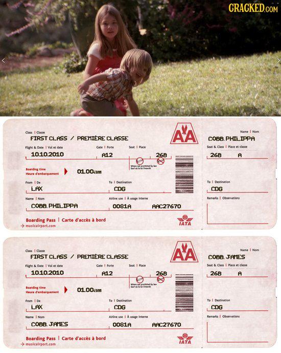 CRACKED.COM Clas l Cnsse AA Name FIRST CLASS PREMIERE CLASSE COBB PHILIPPA Flight Cate rte Seat Mare Seat & Class I et etasse 1010.2010 A12 26B 26B A