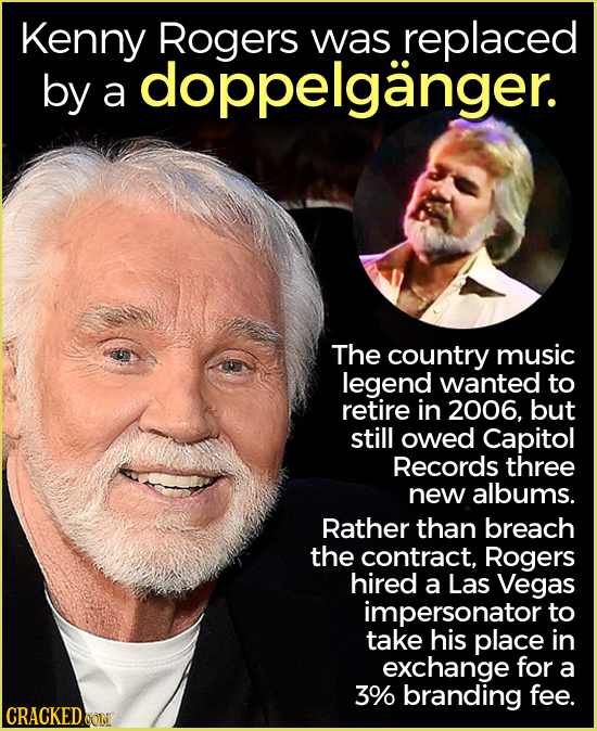 Kenny Rogers was replaced by doppelganger. a The country music legend wanted to retire in 2006, but still owed Capitol Records three new albums. Rathe