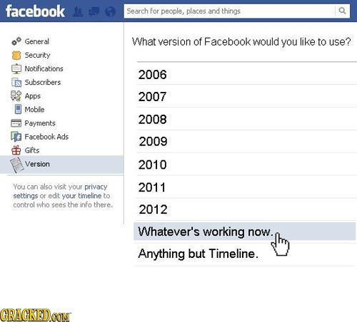 facebook Search for people, places and things General What version of Facebook would you like to use? Security Notifications 2006 Subscribers s Apps 2