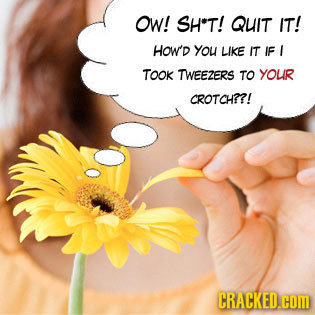 OW! SH*T! QUIT IT! HOW'D you LIKE IT IF I TOOK TWEEZERS TO YOUR CROTCH??! CRACKED.CDM