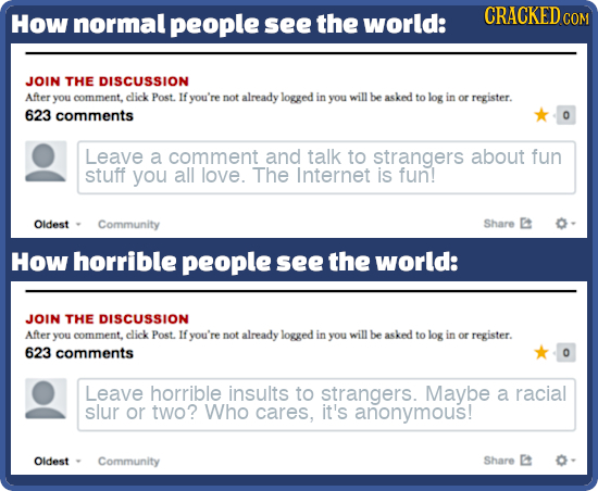 How normal people see the world: CRACKED COM JOIN THE DISCUSSION After you comment, click Post. If you're not already logged in you willbe asked to lo