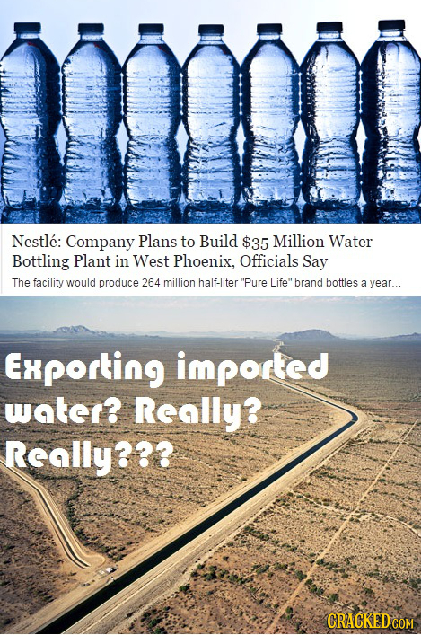 mo Nestle: Company Plans to Build $35 Million Water Bottling Plant in West Phoenix, Officials Say The facility would produce 264 million half-liter P