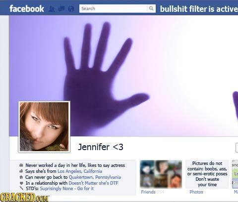 facebook N Search bullshit filter is active IL Jennifer <3 Never worked day her life, Pictures do a in Ikes not to say actress anc contain: boobs, Say