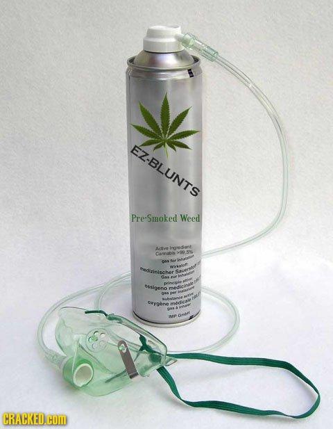 EZ-BLUNTS Pre-Smoked Weed Actve Ineedent: Carnabi med zinischer Sarrsot 0as f ssigeno medeinale aas oxygene medical O Cmth CRACKED.cOM