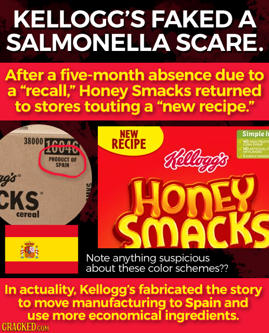 KELLOGG'S FAKED A SALMONELLA SCARE. After a five-month absence due to a recall, Honey Smacks returned to stores touting a new recipe. NEW Simple 3