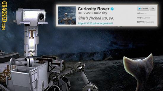CRACKED.COM Curiosity Rover Follen 1- @LV-223Curiosity Tsers Shit's fucked up, yo. 153 20LLOI http://LV223.jplnasa.govimsl/ 827.116OLLOWERS G0LLONES