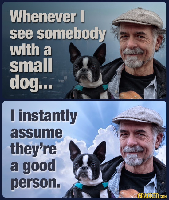 Whenever see somebody with a small dog... I instantly assume they're a good person. GRAGKED COM