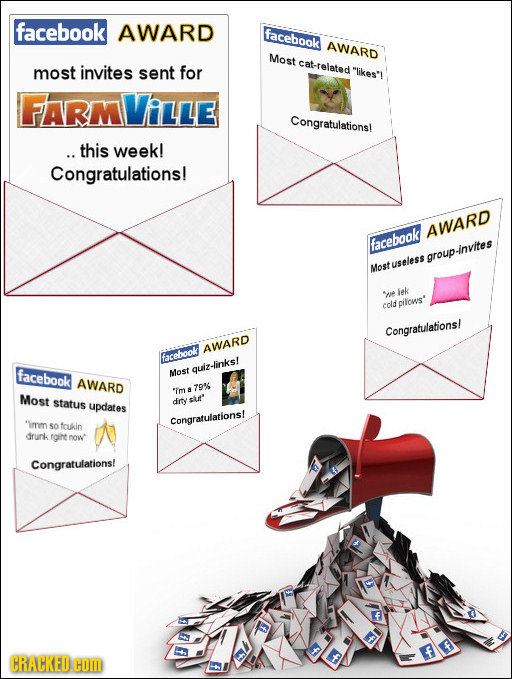 facebook AWARD Faceboak AWARD Most cat-related likes'i most invites sent for FARM Ville Congratulations! .. this week! Congratulations! AWARD faceboo