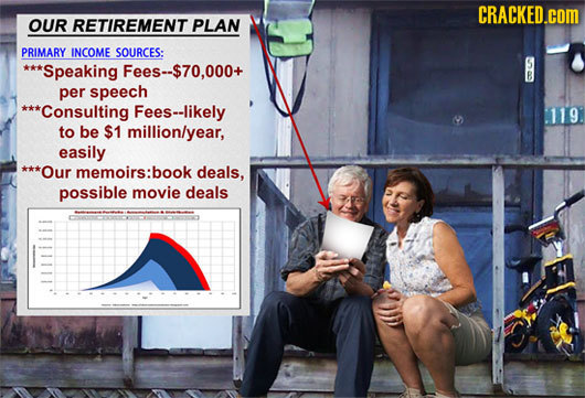 CRACKED.cOM OUR RETIREMENT PLAN PRIMARY INCOME SOURCES: *Speaking Fees--$70.000+ per speech ***Consulting Fees--likely 119. to be $1 millionlyear, eas