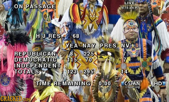 LIVE ON PASSAGE 915 am PT H J RES 68 YEA NAY PRES NV REPUBLICAN 8 225 7 DEMOCRATIC 115 70 7 INDEPENDENT TOTALS 123 295 14 TIME REMAINING 0:00 CSPAN HD