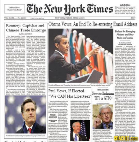 The New ork Cimes LEatl n FRAN AIL - Obama Vows: An End To Re-entering Email Address Romney: Captchas and Chinese Trade Embargo Beilat hae Emerping Na
