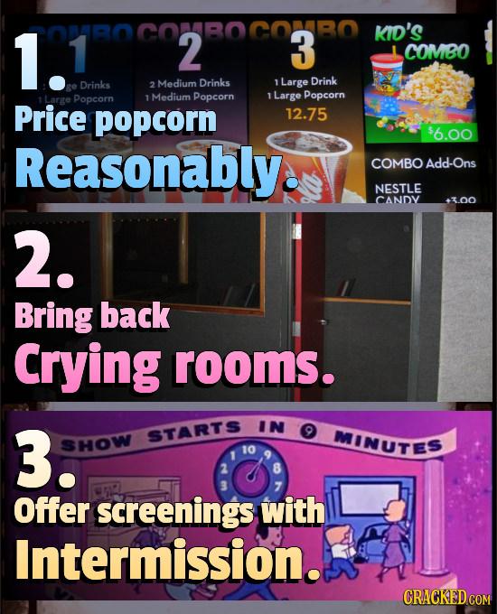 1. 0MROCONBOCONBO 2 3 KID'S 1 COMBO Drinks 2 Medium Drinks 1 Large Drink Popcorn 1 Medium Popcorn T Large Popcorn Price popcorn 12.75 $6.00 Reasonably