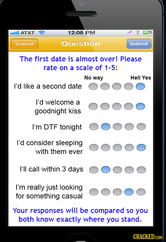 aI AT&T 12:08 PM Cancel Question Submit The first date is almost over! Please rate on a scale of 1-5: No way Hell Yes I'd like a second date I'd welco