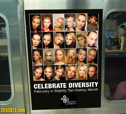 CELEBRATE DIVERSITY Month February is Slightly Tan History IALITY LOIERSITY CRACKED.cOM