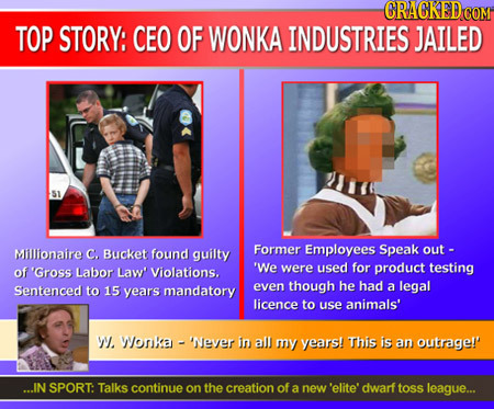 CRAGKED COM TOP STORY: CEO OF WONKA INDUSTRIES JAILED SI Milllionaire Bucket Former Employees C. found guilty Speak out - of 'Gross Labor Violations.