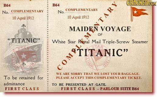 FRAGNEO B64 B64 COMPLEMENTARY No. COMPLEMENTARY No 10 April 1912 10 April 1912 MAIDEN VOYAGE OE TITANIC White PLMENTARY Star REyal eNTA D. Mail Trip
