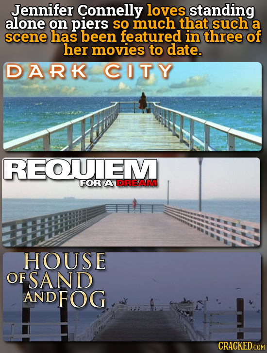 Jennifer Connelly loves standing alone on piers so much that such a scene has been featured in three of her movies to date. DARK CITY REOUEM FOR A DRE