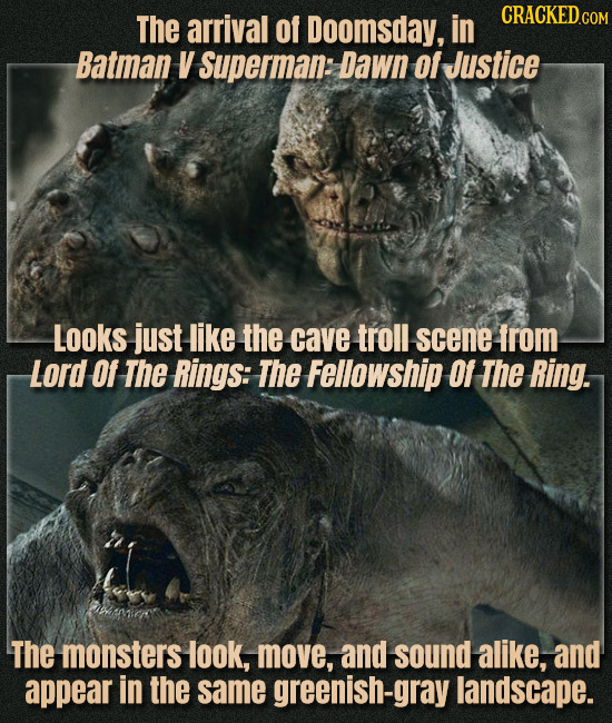 The arrival of Doomsday, in Batman V Superman: Dawn Of Justice Looks just like the cave troll scene from Lord Of The Rings: The Fellowship 01 The Ring
