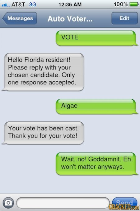 l.. AT&T 3G 12:36 AM 100% Messages Auto Voter... Edit VOTE Hello Florida resident! Please reply with your chosen candidate. Only one response accepted