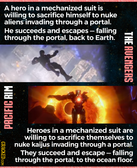 A hero in a mechanized suit is willing to sacrifice himself to nuke aliens invading through a portal. He succeeds and escapes - -falling through the p