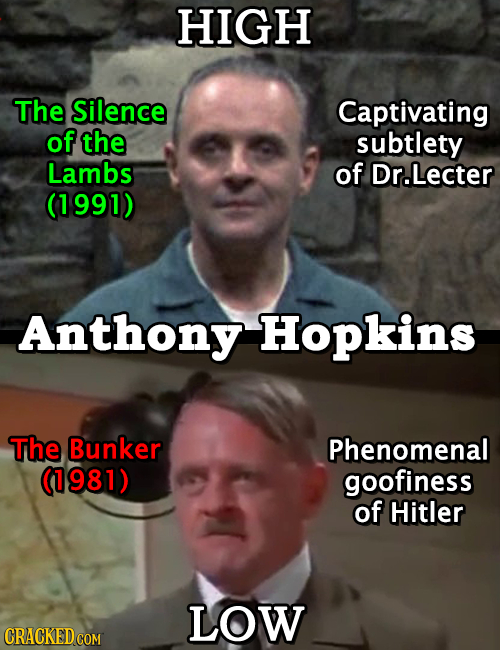 HIGH The Silence Captivating of the subtlety Lambs of Dr.Lecter (1991) Anthony Hopkins The Bunker Phenomenal (1981) goofiness of Hitler LOW CRACKED CO