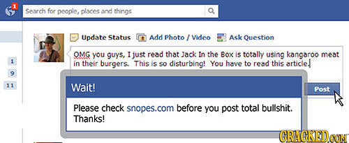 1 Search for people, places and things Update Status Add Photo Video Ask Question OMG you guys, r just read that Jack In the Box is totally using kang