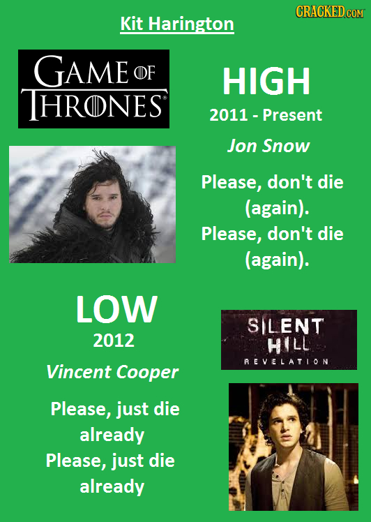 CRACKEDCO Kit Harington GAME OF HIGH THRONES 2011 Present Jon Snow Please, don't die (again). Please, don't die (again). LOW SLENT 2012 HILL REVELATIO