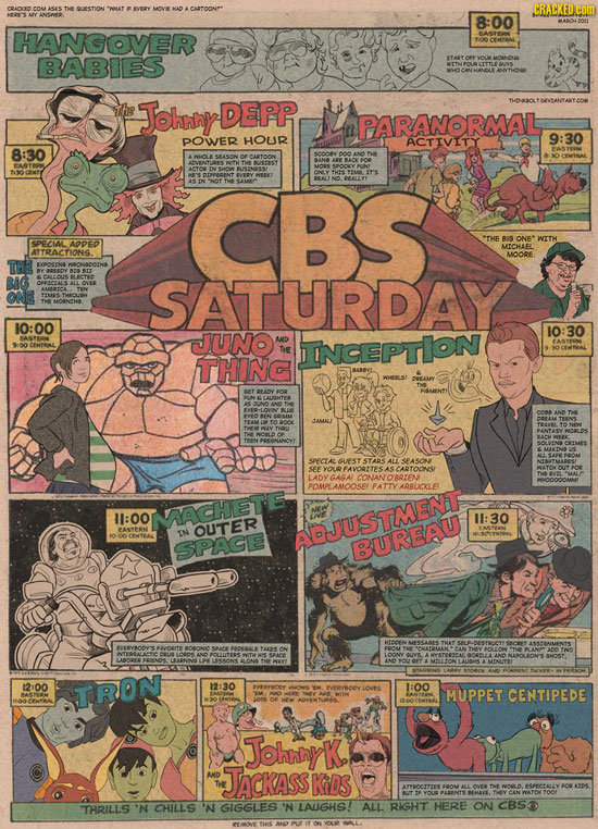 CARTOONP* CRACKED COMD 8:00 HANGOVER BABIES HVAME the Johany DEPR PARANORMAL POWER HOLR ACTIVITY 9:30 8:30 SASON USTAST CBS THE SPECIAL *THE BIS ONE*W