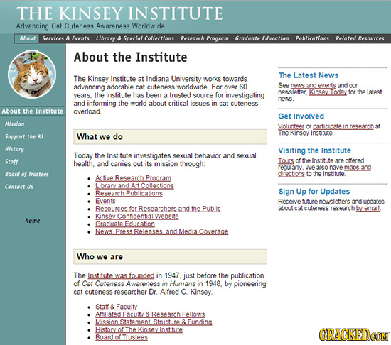 THE KINSEY INSTITUTE Advancing Cat Cuteness Awareness Worldwide About Services & Events Library & Special Collections Research Program Groduate Educat