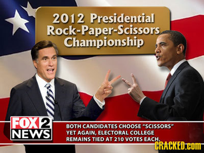 2012 Presidential Rock-Paper-Scissors Championship FOX2 BOTH CANDIDATES CHOOSE SCISSORS NEWS YET AGAIN. ELECTORAL COLLEGE REMAINS TIED AT 210 VOTES