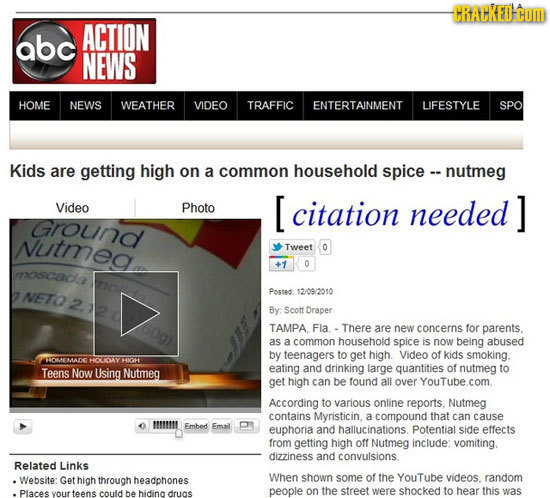 CRACKED HOM abc ACTION NEWS HOME NEWS WEATHER VIDEO TRAFFIC ENTERTAINMENT LIFESTYLE SPO Kids are getting high on a common household spice - nutmeg Vid
