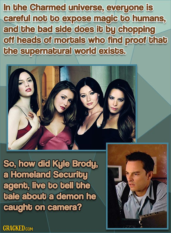 In the Charmed universe, everyone is careful not to expose magic to humans, and the bad side does it by chopping off heads of mortals who find proof t
