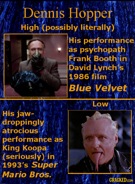 Dennis Hopper High (possibly literally) His performance as psychopath Frank Booth in David Lynch's 1986 fil'm Blue Velvet Low His jaw- droppingly atro