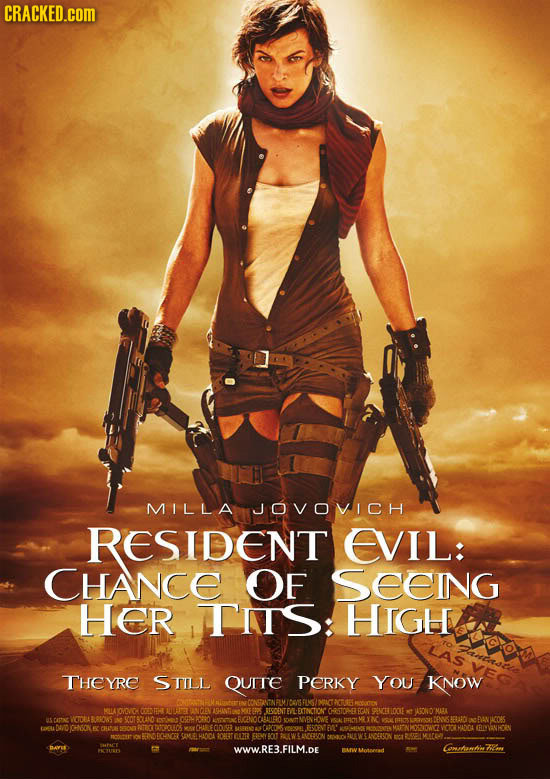CRACKED.COM MILLA JOVOVICH RESIDENT EVIL: CHANCE OF SEeIng Her TNIS: HIGH THEYRE STILL QurTE PERKY YOU KNOW AYOMOVICA CNET OCENTEVE FTNCTICN CRSTOP-ER