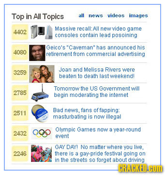 Top in All Topics all news videos images Massive recall: All new video game 4402 consoles contain lead posoining Geico's Caveman has announced his 4