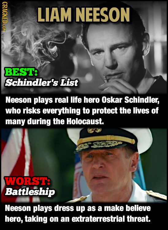 CRACKED CON LIAM NEESON BEST: Schindler's List Neeson plays real life hero Oskar Schindler, who risks everything to protect the lives of many during t
