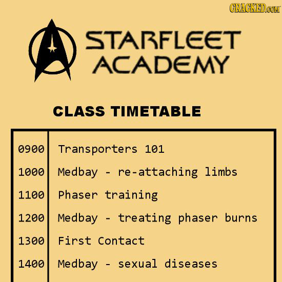 CRACKEDCO STARFLEET ACADEMY CLASS TIMETABLE 0900 Transporters 101 1000 Medbay re-attaching limbs 1100 Phaser training 1200 Medbay treating phaser burn