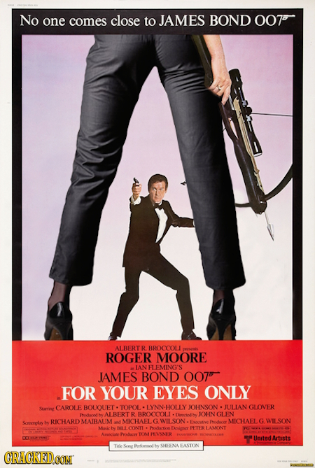 No one comes close to JAMES BOND 007' ALBERTR BROCCOLI ROGER MOORE IAN FLEMING'S JAMES BOND 007t FOR YOUR EYES ONLY Strrieg CAROLE BOUOUET- TOPOL LYNN