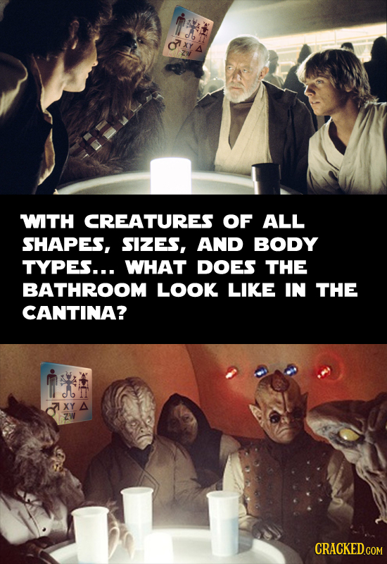 O i XGX WITH CREATURES OF ALL SHAPES, SIZES, AND BODY TYPES... WHAT DOES THE BATHROOM LOOK LIKE IN THE CANTINA? MTAH XY A ZW