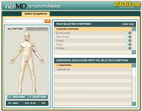 WebMD CRACKED.C symptomchecker COm Select Symptoms GO YOURSELECTED SYMPTOMS START OVER ALL SYMPTOMS GENFRAL SYMPTOMS 5 SELFCTED SYMPTOMS Runny nose So