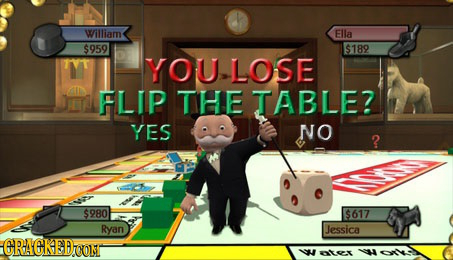 William Ella $959 $189 YOU LOSE FLIP THE TABLE? YES NO ? $980 $617 Ryan Jessica CRACKED ter