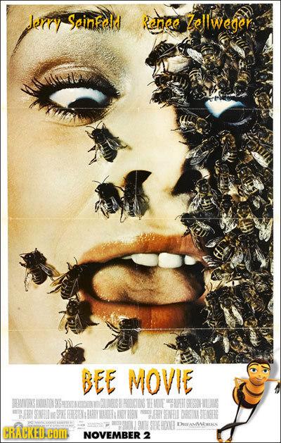 lerry Ssinfeld Kenee ollweger BEE MOVIE EVONEKS IMATON HE EESHULLAINS SPKE SNHL STIENE DSAMWOUSCS CRACKED.HOM NOVEMBER 2