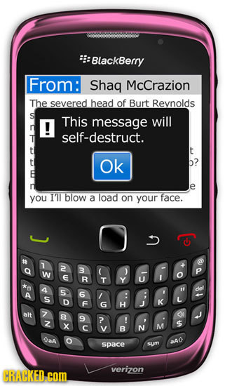 BlackBerry From: Shag McCrazion The severed head of Burt Revnolds S This message will self-destruct. t Ok b? e you IIl blow a load on your face. T 2 3
