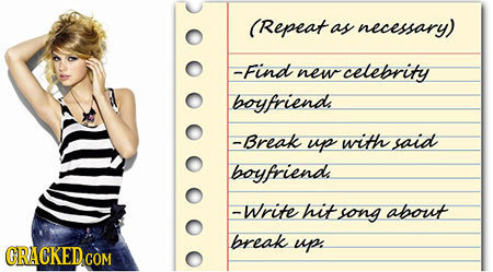 (Repeat as necessary) -Find new celebrity boyfriends -Break up with said boyfriend -Write hit song about break up. CRACKED COM